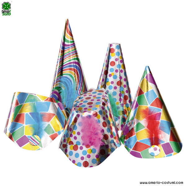 50 BIG PRINTED METALLIC PARTY HATS IN BOX - 16/30 cm