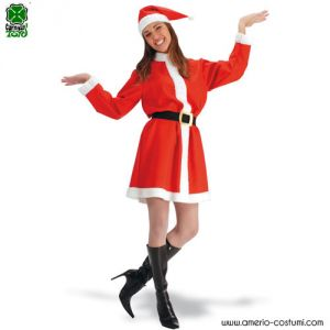 SANTA'S FABRIC COSTUME FOR WOMAN: DRESS, HOOD, BELT