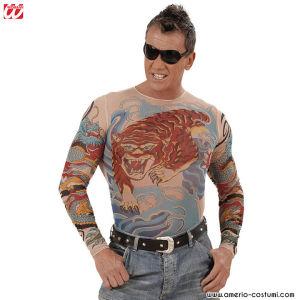 Camicia TATUATA COLORATA - Tigre e Drago