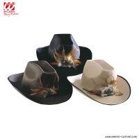 Cappello COW-BOY IN FELTRO CON PIUMA - disp. 3 col