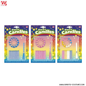 CF. 12 CANDELINE CON SUPPORTO + 1 CANDELINA MUSICALE - ass. in 3 colori