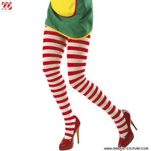 WHITE-RED STRIPED PANTYHOSE - Sz XL