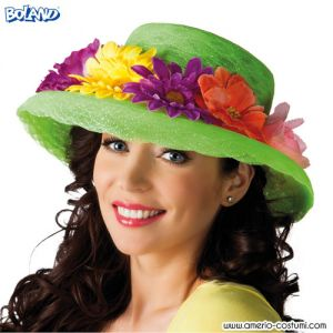 Cappello LIME GREEN CON FIORI