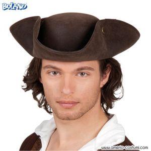 Cappello TRICORNO MARRONE effetto pelle