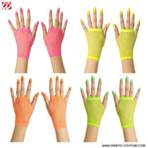 PAIRS OF FISHNET GLOVES WITH NO FLUO FINGERS - SHORT - disp. 4 col.
