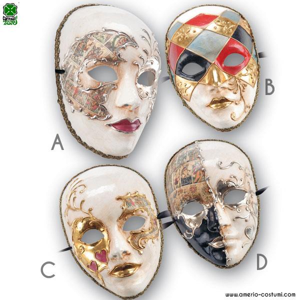 Maschera IN CARTAPESTA DECORATA - disp. 4 mod.