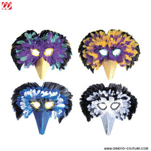 MULTICOLOR VENICE FEATHER MASK - Av. 4 col