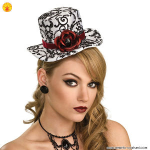BLK/WH MINI TOP HAT W/ROSE