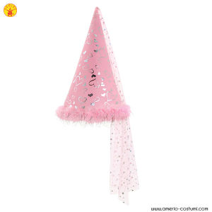CONICAL HAT W/MARABOU TRIM