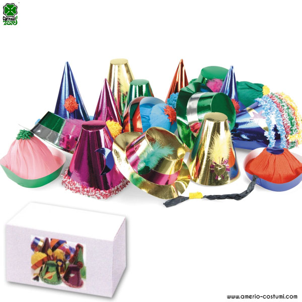 50 BIG METALLIC PARTY HATS IN BOX - 10/25 cm