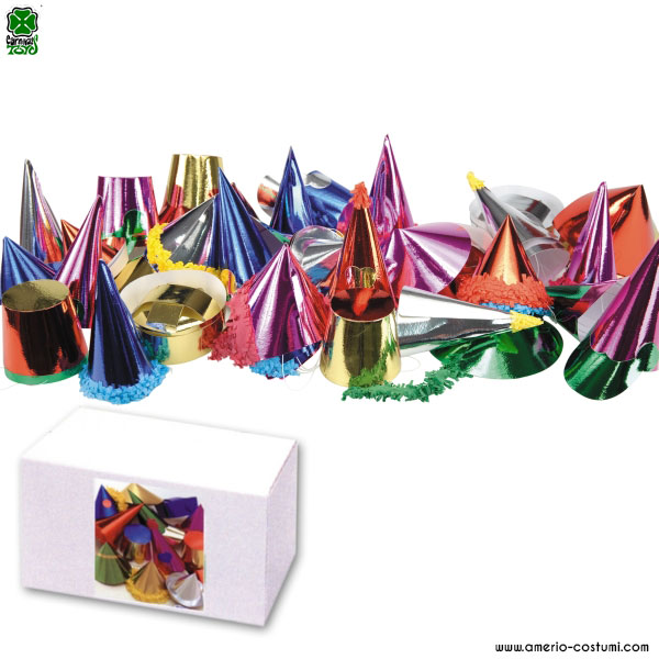 72 MEDIUM METALLIC PARTY HATS IN BOX - 7,5/22,5 cm