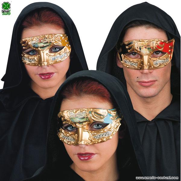 Maschera VENEZIANA CON DECORAZIONI MUSICALI - disp. 3 col.