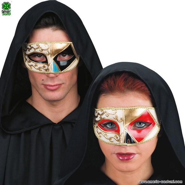 Maschera VENEZIANA CON DECORAZIONI A ROMBI - disp. 2 col.