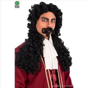 Captain Hook Perücke mit Schnurrbart