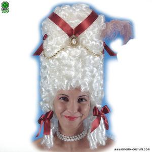 Parrucca POMPADOUR CON DECORAZIONI - Bianca