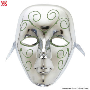Maschera ARGENTO CON GLITTER IN PLASTICA