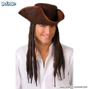 Cappello TRICORNO MARRONE con capelli