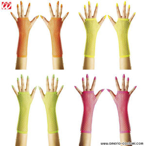 PAIR OF MESH GLOVES WITH NO FLUO FINGERS - disp. 4 col.