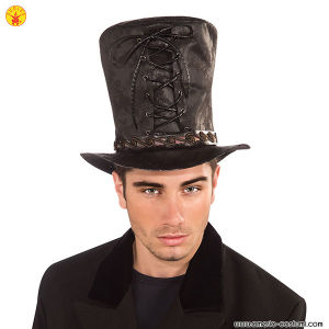 STEAM PUNK BLACK TIE UP HAT