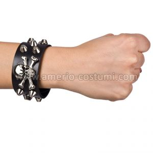 BRACCIALE PUNK ROCK LARGO IN ECOPELLE CON TESCHIO E BORCHIE