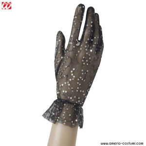 FISHNET GLOVES WITH SEQUIN - BLACK
