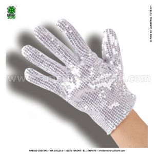 GLOVES WHITE WITH SEQUIN SILVER - 24 cm