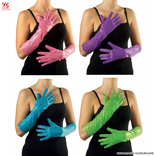 GLOVES WITH SEQUIN - 41 cm