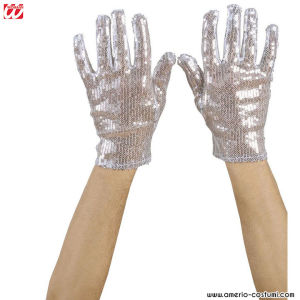 GLOVES WITH SEQUIN - SILVER