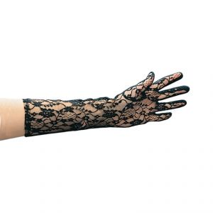 LACE GLOVES - 40 cm - BLACK
