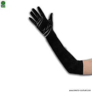 SPANDEX SATIN GLOVES - 50 cm - BLACK