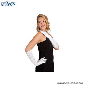 SATIN GLOVES - 60 cm - WHITE