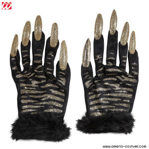 TIGER GLOVES WITH GOLD GLITTER NAILS