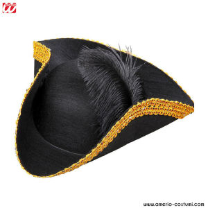 TRICORN WITH FEATHER & TINSEL TRIM