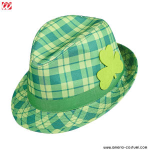 ST. PATRICK'S DAY TARTAN Fedora with shamrock