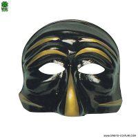 Maschera PULCINELLA - NERO con ORO