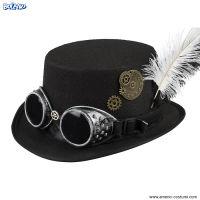 Cappello STEAMPUNK con piuma e occhiali