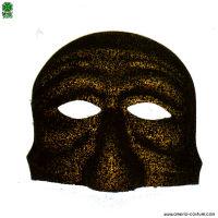 Maschera PULCINELLA floccata - ORO/NERO