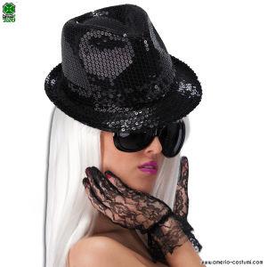 Cappello GANGSTER / BORSALINO in pailettes nero