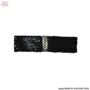 Cintura elasticizza pailettes - NERA