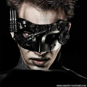 Maschera DOMINO BLACK CYBORG