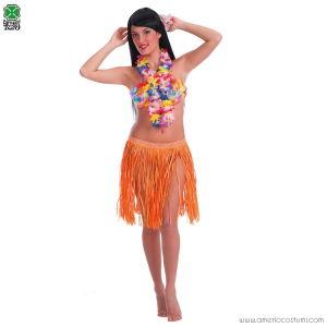 Gonna Hawaii arancione in rafia - 45 cm